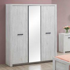 Kledingkast Elvira 173cm 3 deuren & spiegel - witte eik
