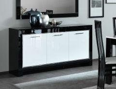 Dressoir Modena 3 deuren - zwart/wit