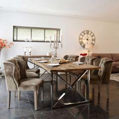 Eettafel Kensington 180x100 - bruin/zilver