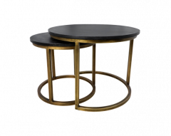 Ronde salontafel Finnley - ø60 cm - black wash / antique gold - set van 2
