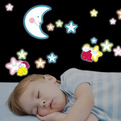 Muurstickers 3D Smiling Stars - Glow in the dark