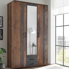 Kledingkast Ellis 120cm met 3 deuren 2 lades & spiegel - old style/beton