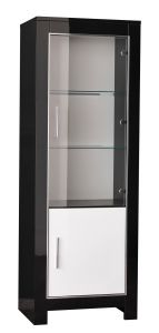 Vitrinekast Modena 2 deuren - zwart/wit