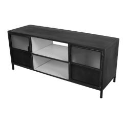 TV meubel Bronx 130cm met 2 deuren - donkergrijs/wit