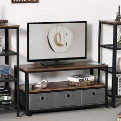 Salontafel/tv-meubel Bill 100x40 2 legplanken - rustiek bruin/zwart