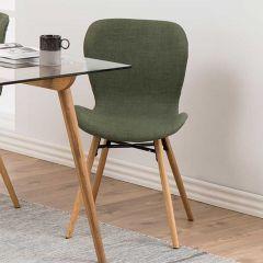Set van 2 stoffen stoelen Tilda met schuine poten - groen/eik