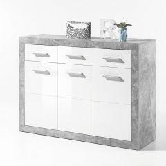 Commode Stanno 117 cm met 3 deuren & 3 lades - beton/wit
