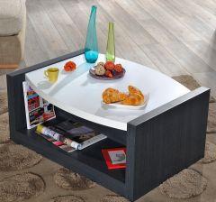 Salontafel Eloa 90x68 - hoogglans wit/zwart