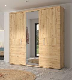 Kledingkast Attitude 220cm met 3 deuren & spiegel - eik