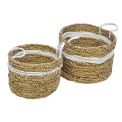 Set van 2 manden Malibu - naturel/wit - waterhyacint