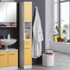 Kolomkast Ricca 25cm 2 deuren & 1 lade - wit/geel