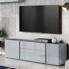 Tv-meubel Mussa 180cm -  grafiet/zilvergrijs