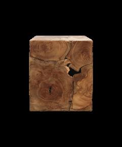 Kubus bijzettafel - 30x30 cm - teak - natural wax