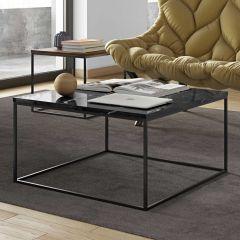 Salontafel Gleam 75x75 - zwart marmer/staal