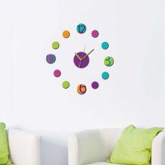 Muurstickers 3D Wandklok Colourful - schuim
