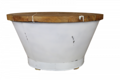 Salontafel Emmer - white resin - teak / ijzer