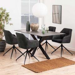 Eettafel Hennie 160x90 keramiek - zwart