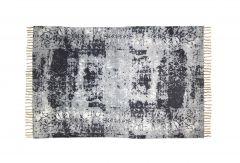 Vloerkleed - katoen - 180x120 cm - naturel / blauw / grijs