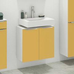 Wastafelonderkast Hansen 60cm 2 deuren - geel/wit