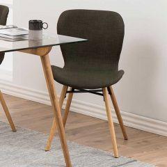 Set van 2 stoffen stoelen Tilda met schuine poten - kaki/eik