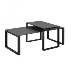 Set van 2 salontafels Nicola met blad uit keramiek - zwart