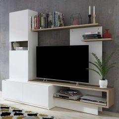 Tv-meubel Boris 200cm - wit/bruin