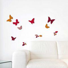 Muurstickers 3D Butterflies & Leaves - schuimstickers