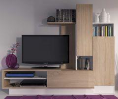 Tv-meubel Benno 200cm - hout/wit