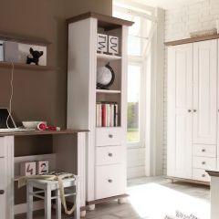 Boekenkast Laurel met 3 lades - wit/bruin