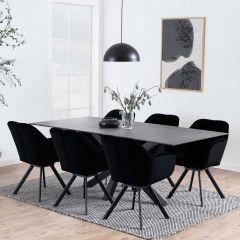 Eettafel Hennie 200x100 keramiek - zwart