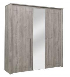 Kledingkast Hayden 205 cm 3 deuren & spiegel - lichtgrijze eik