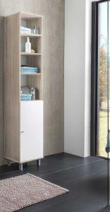 Kolomkast Benja 1 deur - wit/eik