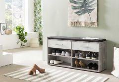 Schoenenkast Karin 2 laden met zitkussen - wit/beton
