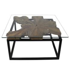 Salontafel Sinis 70x70 cm - teak/ijzer