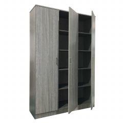Opbergkast Ray 120cm met 3 deuren en 4 legplanken - grijze eik