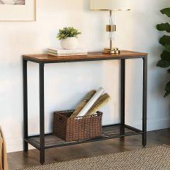 Sidetable Brad 100x35 1 legplank - rustiek bruin/zwart