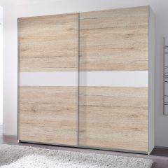 Kledingkast Wouter 215cm met 2 deuren - eik/wit
