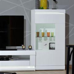 Lage vitrinekast Ovar 70cm met 1 deur - hoogglans wit