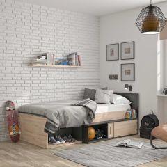 Bed met opbergruimte Quinten 90x200 - lichte Kronberg eik/zwart