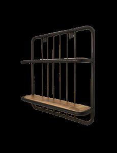 Wandplank - 50x50 cm - mangohout / ijzer