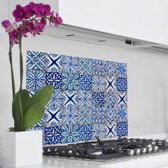 Muursticker Tegels achterwand keuken - blauw