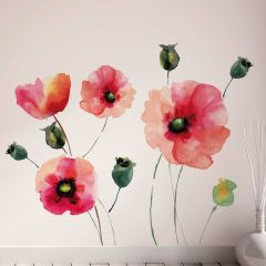 Muursticker Watercolour Poppies XXL