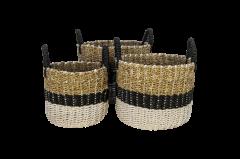 Mandenset Malibu - zwart / naturel / wit - raffia / zeegras - set van 3
