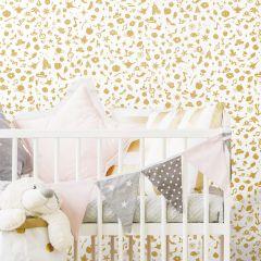 Zelfklevend behang Disney Princess Icons - goud