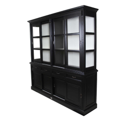 Buffetkast Provence 220cm met 8 deuren & 4 lades - zwart/wit