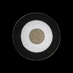 Vloerkleed Mailbu - ø120 cm - raffia / zeegras - naturel / wit / zwart