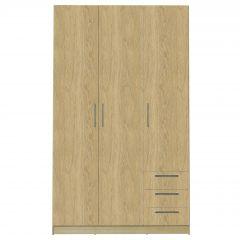 Kledingkast Tarn 120cm met 3 deuren & 3 lades - eik