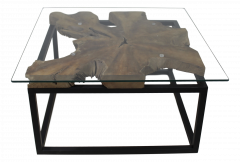 Salontafel - 70x70 cm - teak / ijzer