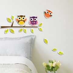 Muurstickers 3D Owls - schuimsticker