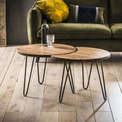 Salontafel set - 2 Ø60 - Massief acacia naturel